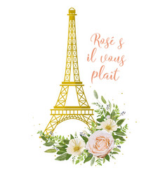 Eiffel tower romantic paris gold symbol flower vector