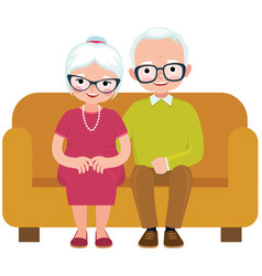 Elderly couple husband and wife sitting on couch vector