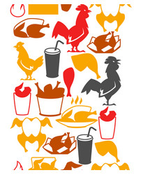 fast food fried chicken meat vector image