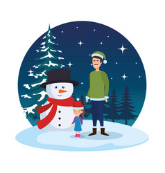 father and daughter with christmas clothes in vector image