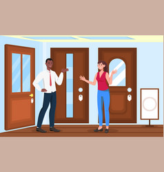 female character is choosing doors in store vector image