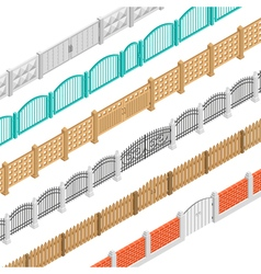Fences And Gate Isometric Elements vector