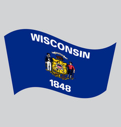 Flag of wisconsin waving on gray background vector