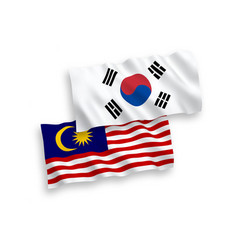 Flags south korea and malaysia on a white vector