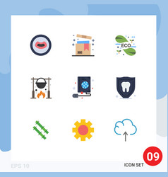 Flat color pack 9 universal symbols cooking vector