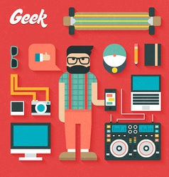 Flat Icons Set of Trendy Geek vector