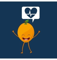 Fruit cartoon heart healthy icon vector