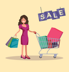 girl with shopping cart and bags sale vector image