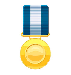 Gold medal with blue ribbon icon cartoon style vector