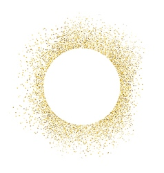 Gold sparkles on white background White circle vector image