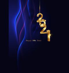 Golden 2021 new year 3d logo vertical blue banner vector