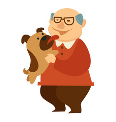 grandfather playing with mop pet licking his face vector image