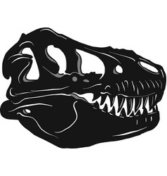 graphical tyrannosaur s skull isolated on black vector image