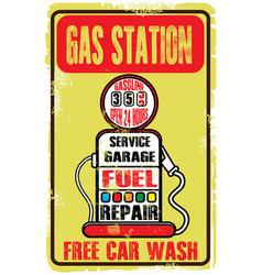 Grunge retro gas station sign vector
