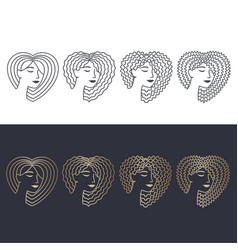 hair linear icons set vector image