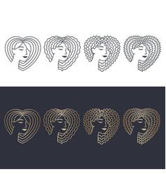 Hair linear icons set vector