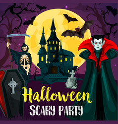 halloween castle bats and monster vector image