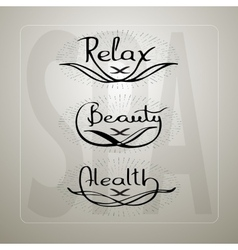 Handwritten words Relax Beauty Health vector image