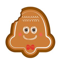 Happy bitten christmas bell gingerbread vector