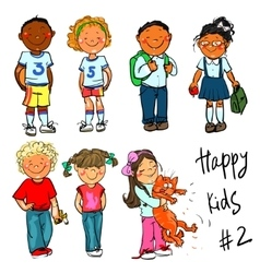 Happy Kids - part 2 Hand drawn clip-art vector