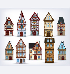 Historic half-timbered houses vector