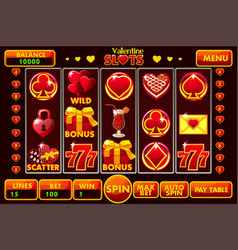 Interface slot machine style st valentine vector