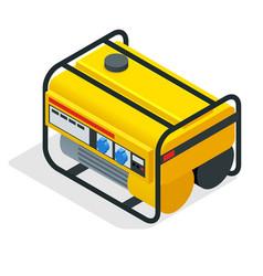 Isometric yellow gasoline generator industrial vector