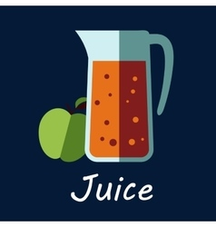 Jug apple juice and fruit icon vector