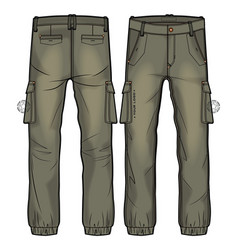 Khaki cargo pants with large side pockets vector