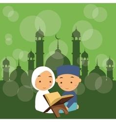 Kids boys and girls read holy quran qoran islam vector