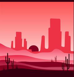 Landscape of wild western desert with rocky vector