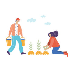 Man and woman works in garden vector