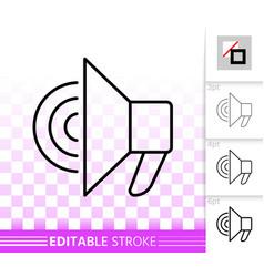 megaphone simple black line speaker icon vector image