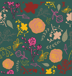 mixed florals on dark green background pattern vector image