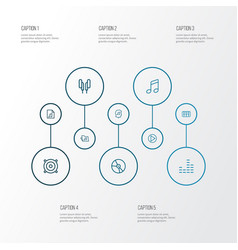 Multimedia icons line style set with vinyl notes vector
