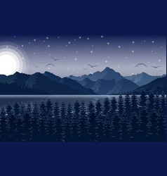 Night mountains landscape with starry sky vector
