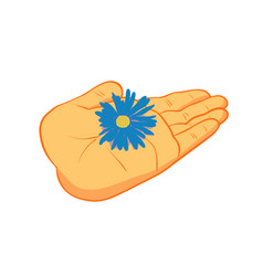 People hand with flower vector