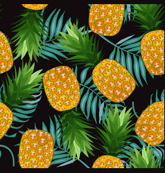 pineapple seamless pattern with palm leaves on vector image