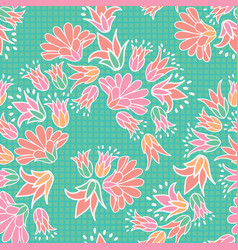 Pink orange flowers seamless repeat pattern vector