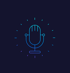 Podcast linear icon with mike vector