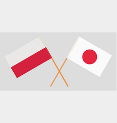 Poland and japan crossed polish and japanese flags vector
