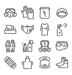 ppe line icons medical covid-19 protection vector image