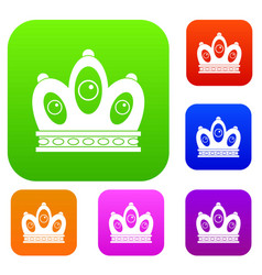Queen crown set color collection vector