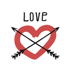 Red heart with arrows hand drawn vector