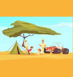 Safari travel flat composition vector