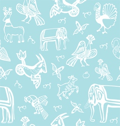 Seamless background with creatures of the old Russ vector