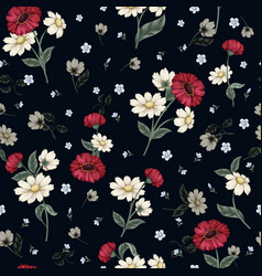 Seamless floral pattern with ditsy flowers vector