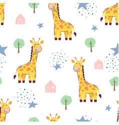 seamless pattern cute giraffe vector image