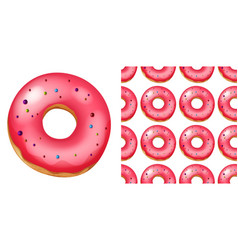 Seamless pattern donuts on white vector