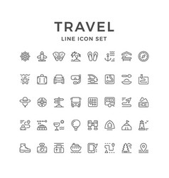 Set line icons of travel vector